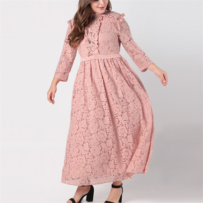 Plus-size fashionable pure color lace long sleeves dress