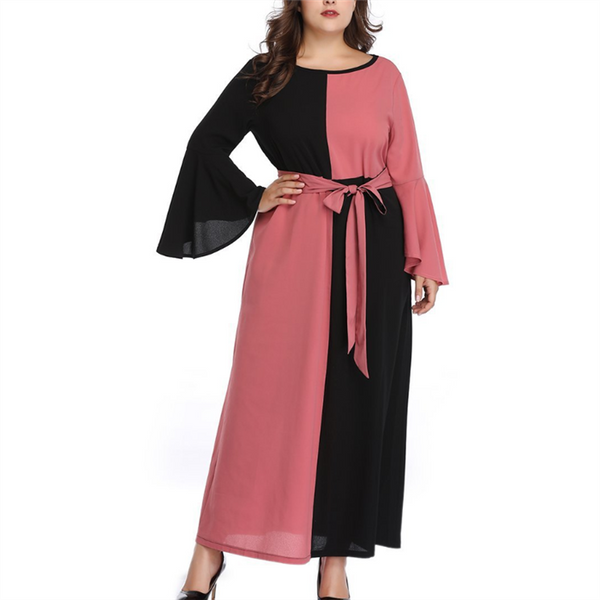 Plus-size fashion round collar contrast color loose long sleeves dress