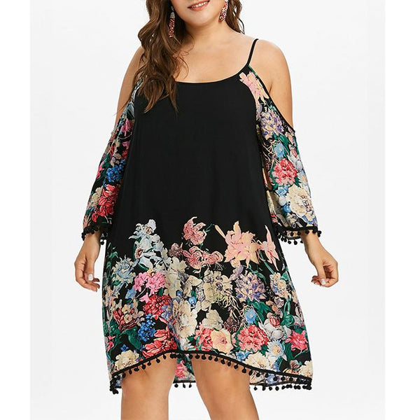 Plus-size sexy off-the-shoulder print dress