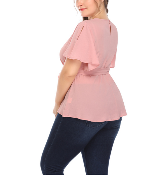 Plus-Size Sexy Solid Color V-Neck T-Shirt