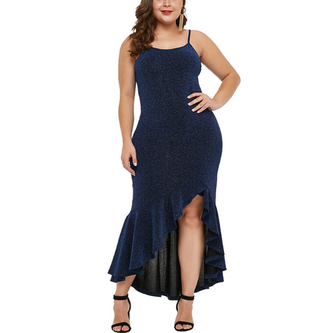 Plus-Size Sexy Pure Color Sling Dress