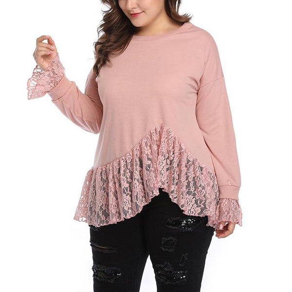 Plus-size solid color round collar lace long sleeve T-shirt