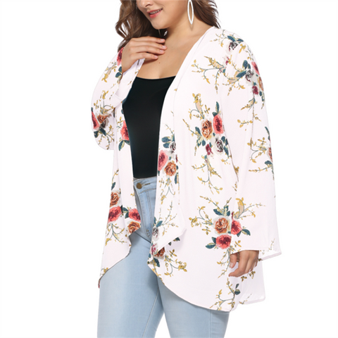 Fashion Large Size Long Sleeve Printed Cardigan