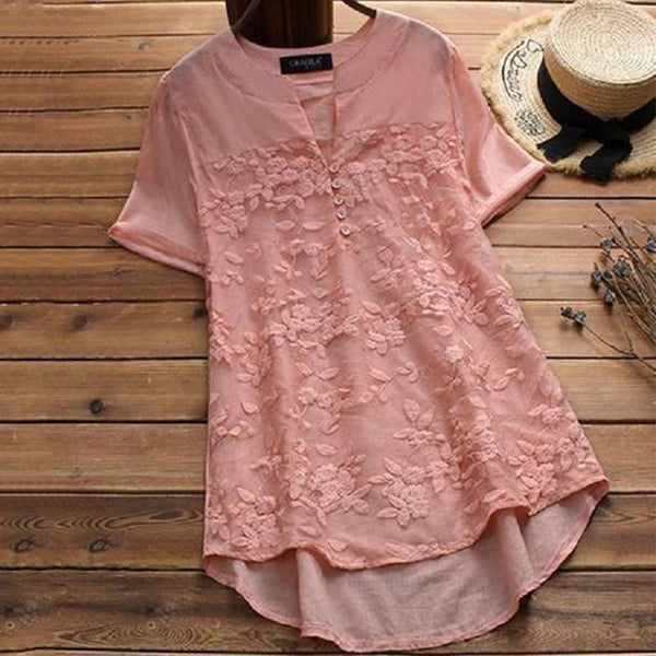 Large Size Woven Non-Elastic Lace Short-Sleeved Blouse