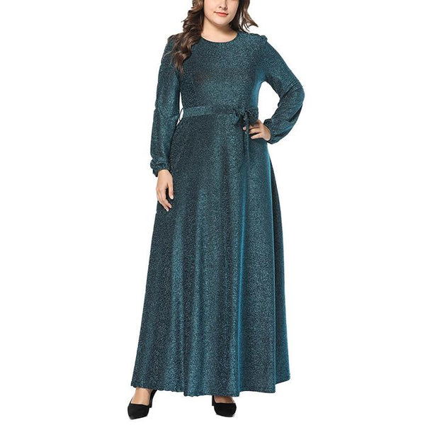 Plus-Size Loose Pure Color Long Sleeve Dress