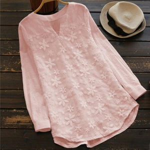 Lace embroidery long-sleeved shirt