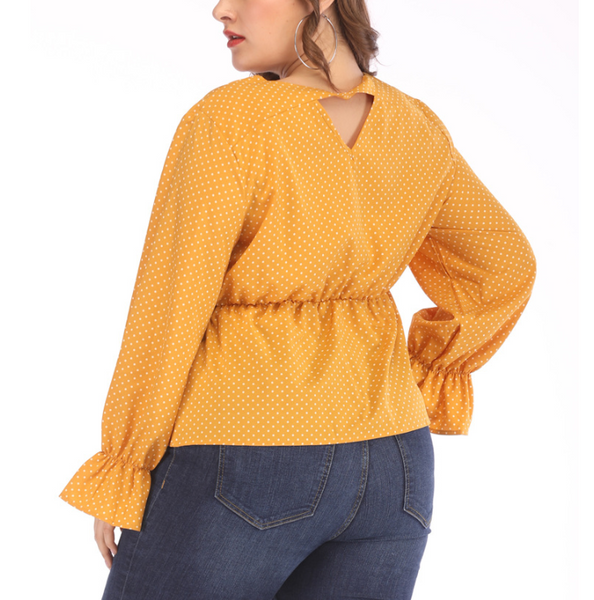 Plus-Size Loose Long Sleeve Wave Point Shirt