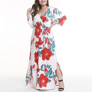 Plus-Size V-Neck Sexy Printed Long Dress