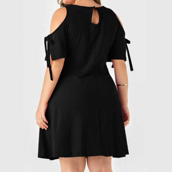 Plus-size sexy solid color short sleeves off shoulder mini dress
