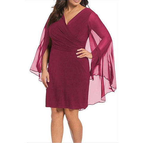 Plus-Size Pure Color Sexy Loose Bat Sleeved Mini Dress