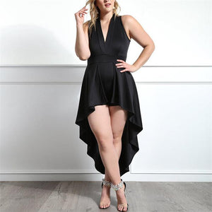 Plus-Size Solid Color V-Neck Sleeveless Dress