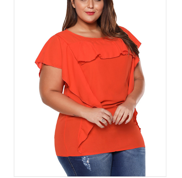 Pure color sexy round collar ruffled short sleeves T-shirt