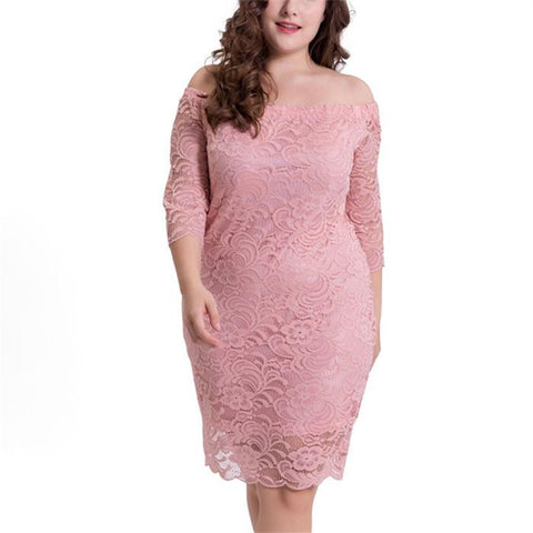 Plus-Size Pure Color Loose Lace Short-Sleeved Mini Dress