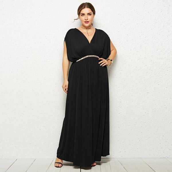 Plus Size Pure Color V Neck High Waist Long Maxi Dress Evening Dress