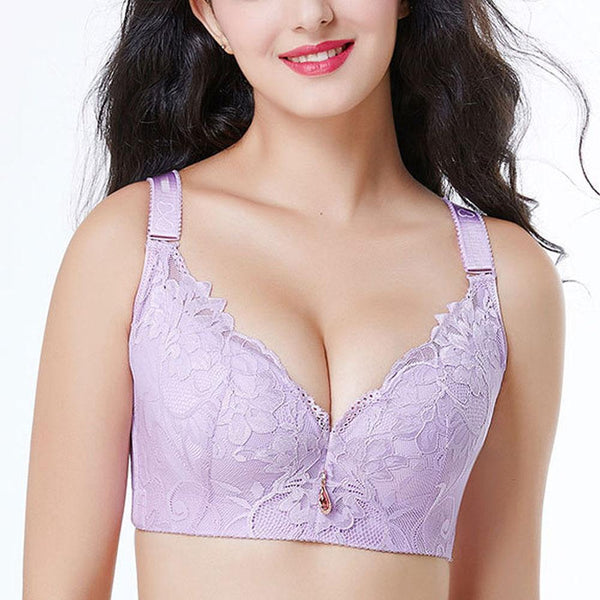 Sexy lace full cup thin section breathable super gathered close the breast anti-sagging bra