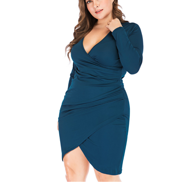 Plus-Size V-Neck Long Sleeve Sexy Solid Color Dress
