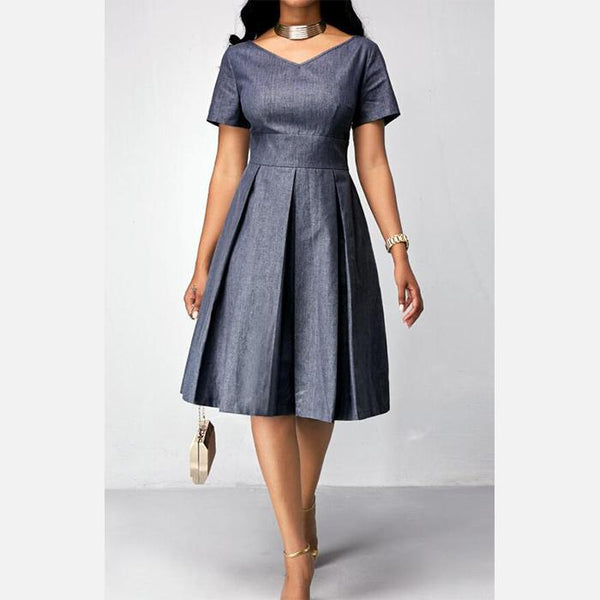 Plus-size sexy solid color v-neck short sleeves dress