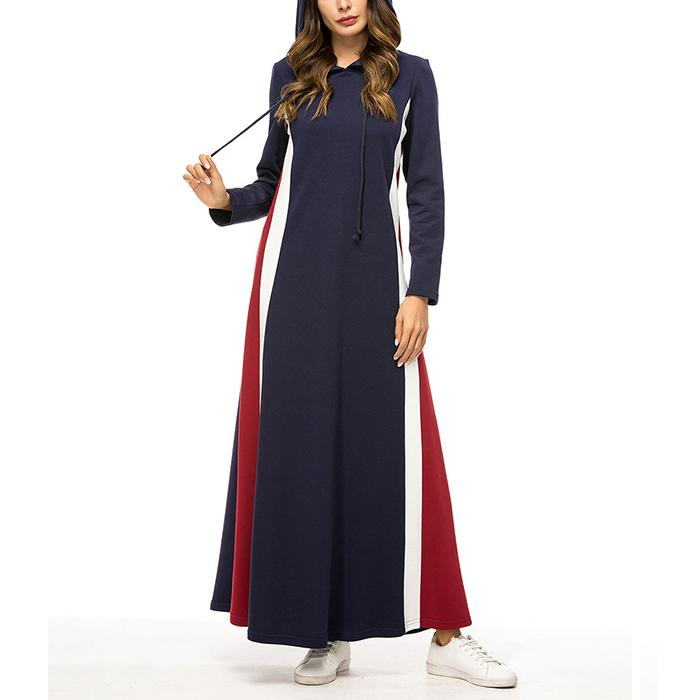 Fashion contrast color splicing long sleeve hooded dress