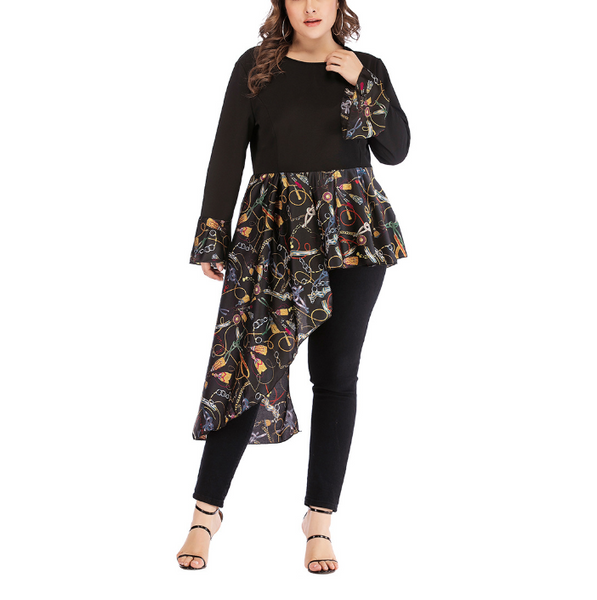 Plus-Size Round Collar Long Sleeve Printing Irregular Splicing Dress
