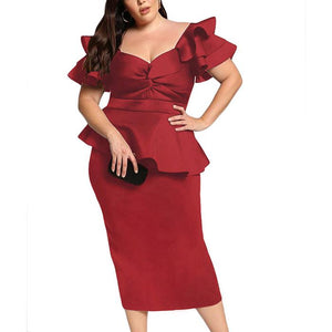 Plus-size pure color v collar sexy lace dress