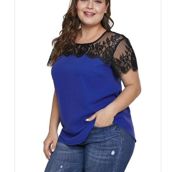 Plus-size sexy lace splicing round collars T-shirt