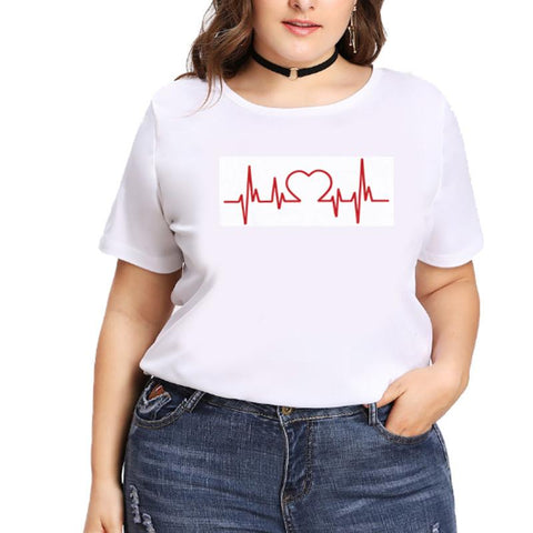 Wave Electrocardiogram Heart-Shaped Enlarged Collar T-Shirt