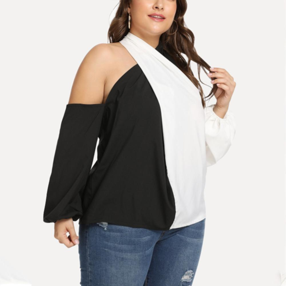 Plus-size loose black and white splicing casual colorblock shirt