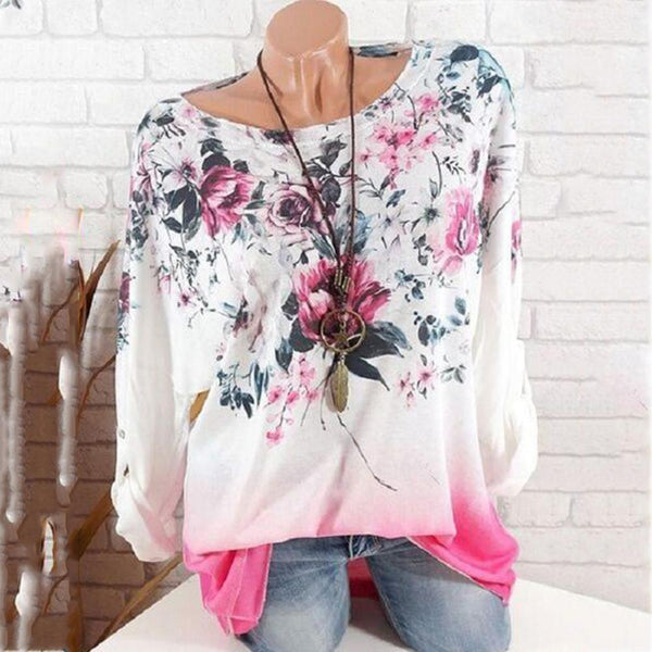 Gradient Round Neck Print Long-Sleeved Top
