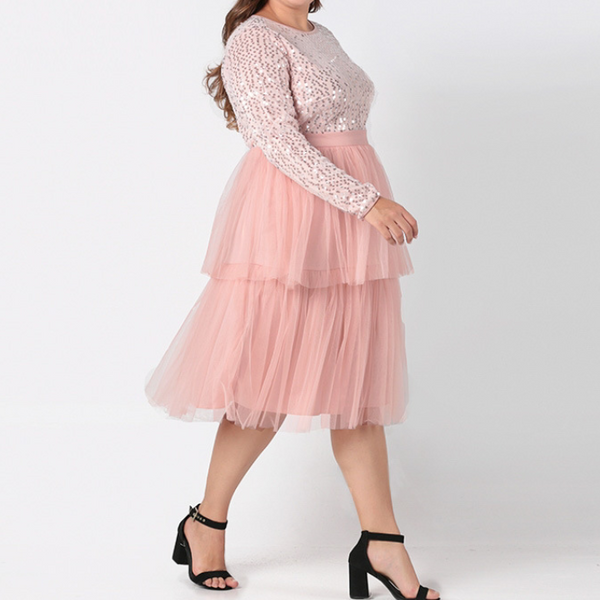 Plus-size loose sequined gauze dress