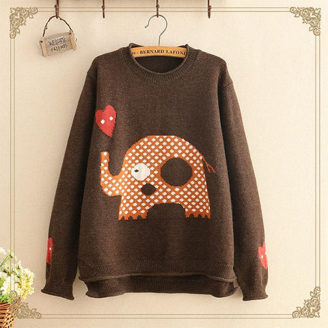 Literary round collar loose front short long elephant pattern Hoodie