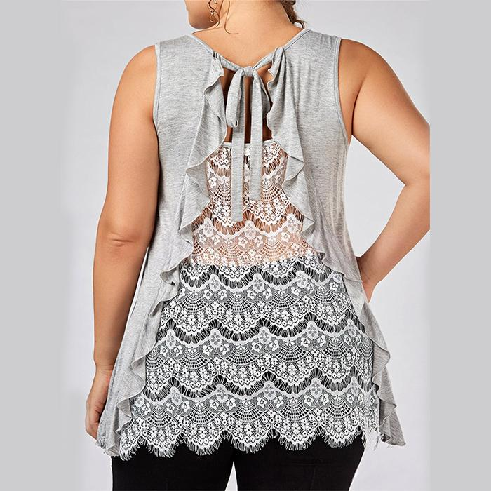 Plus-Size Sexy Lace Splicing Sleeveless Vest