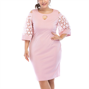 Plus-Size Sexy Solid Color Hollow Out Middle Sleeve Mini Dress