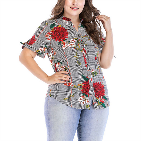 Plus-Size Fashion Printed Short Sleeve Shirt