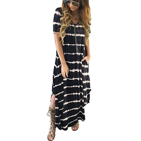 Casual striped print v-neck short sleeve dress