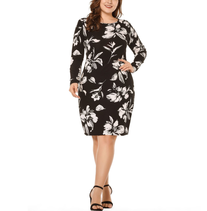 Plus-size sexy retro print round neck long sleeves dress