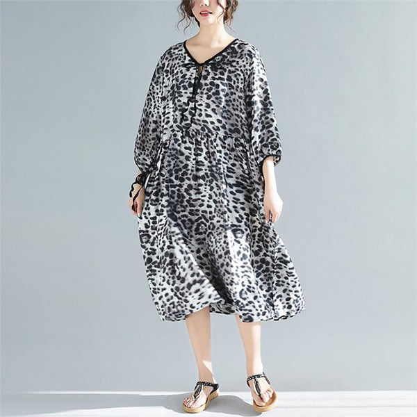 Plus-Size Long Sleeves Stylish Loose Leopard Print Dress