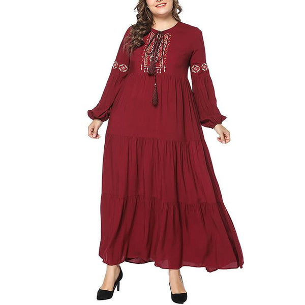 Plus-size loose embroidered long sleeve dress