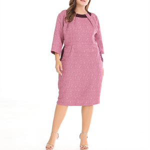 Plus-Size Stylish Sexy Solid Color Medium Sleeves Dress
