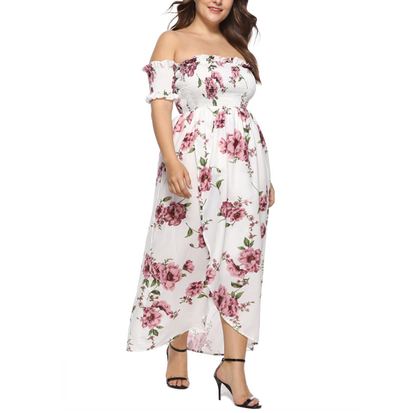 Plus-Size Fashion Print One Word Shoulder Dress