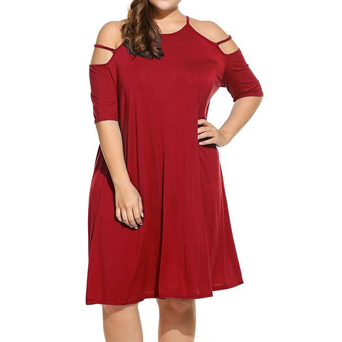 Plus-Size Sexy Pure Color Sling Loose Dress