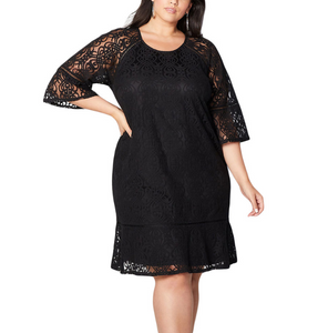 Plus-size solid colors sexy hollowing out dress