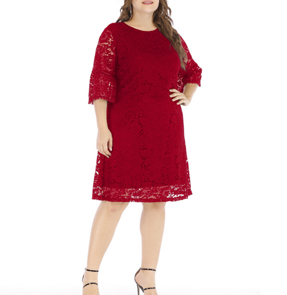 Plus-size sexy loose solid color lace dress