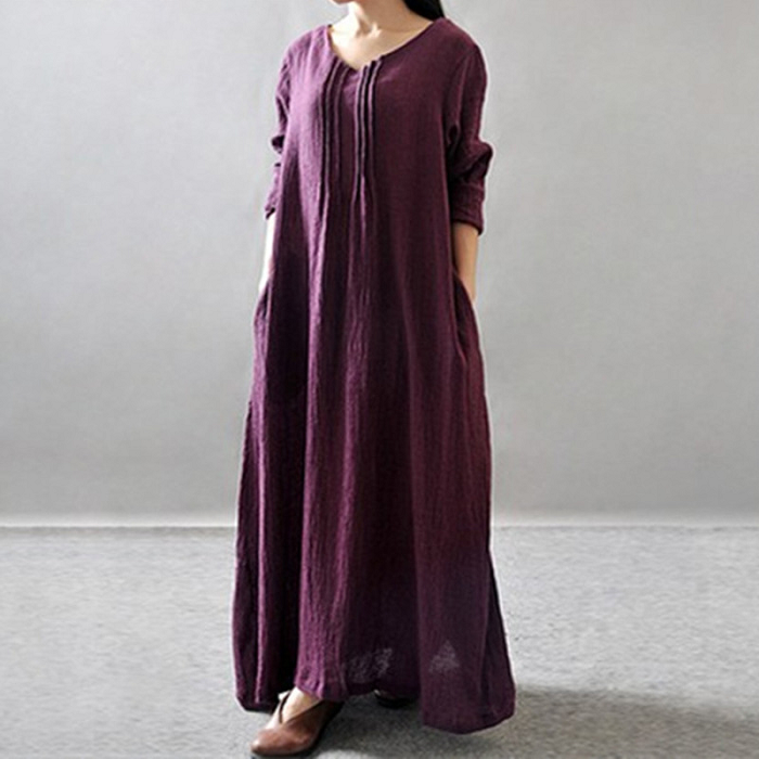 Literary National Wind Texture Cotton And Linen Dress Bottoming Robes
