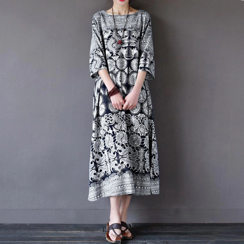 Printed Loose And Thin Cotton And Linen Long Vintage Dress