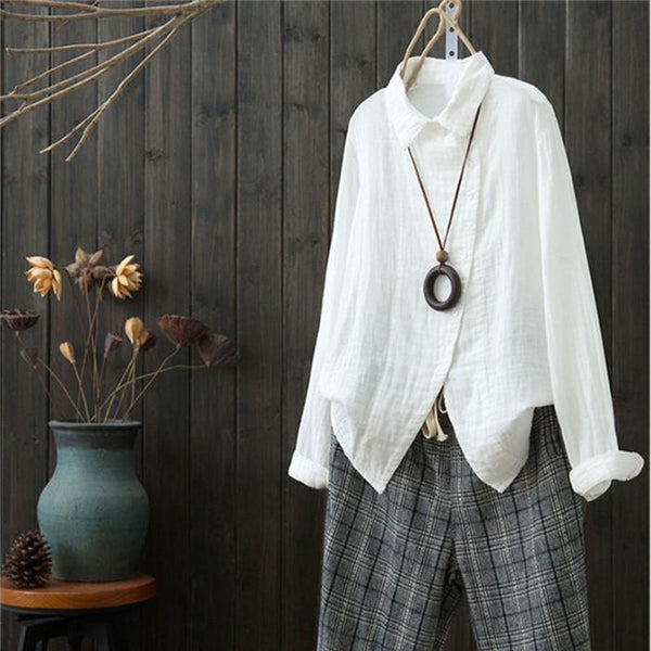 Fashion Long Sleeve Irregular Casual Oblique Cardigan Shirt