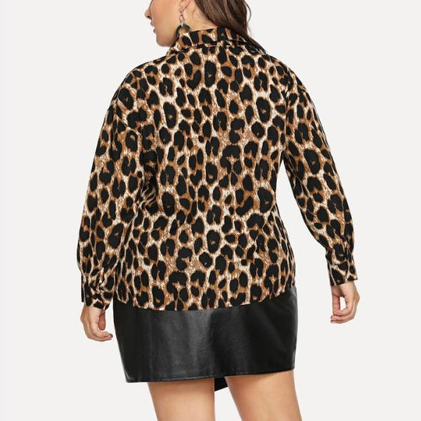 Plus-Size Stylish Sexy Leopard Print Long Sleeves Shirt
