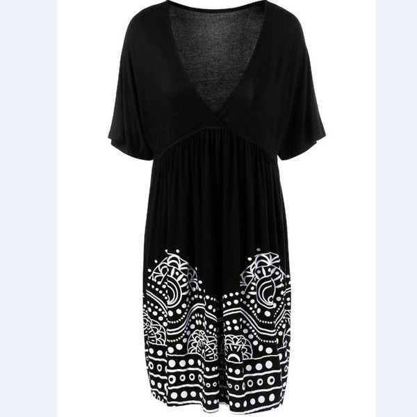 Women's Large Short Sleeve V Collar Print Dress