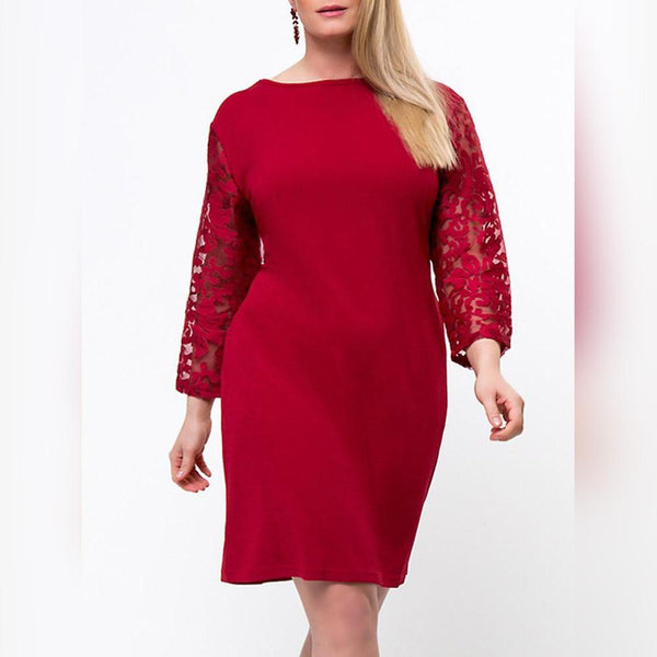 Plus Size Hollow Out Bodycon Dress Patchwork Pocket