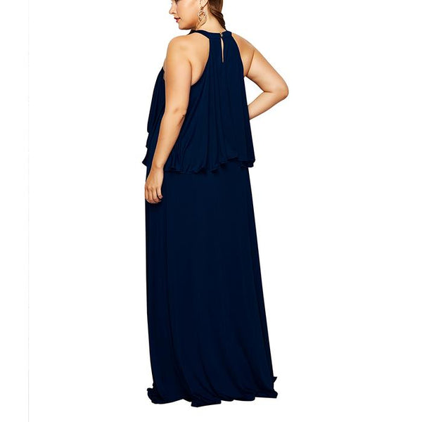 Plus-Size Solid Color Sleeveless Off Shoulders Dress