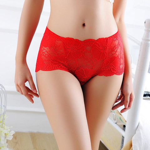 Sexy Lace-Trim Flounces Hip-Lifting Seamless Elastic Mid Waisted Panties
